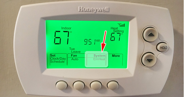 Emerency heat on thermostat